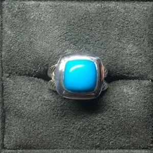 David Yurman 11x11mm Turquoise Albion Ring Sz 7